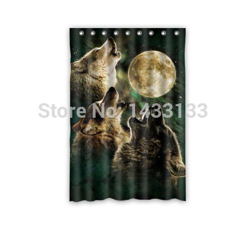 Hot Sale Custom Moon and Wolfs Fashion Home Living Waterproof Bathroom Decor Shower Curtain 120x183cm FREE SHIPPING U07-21(China (Mainland))