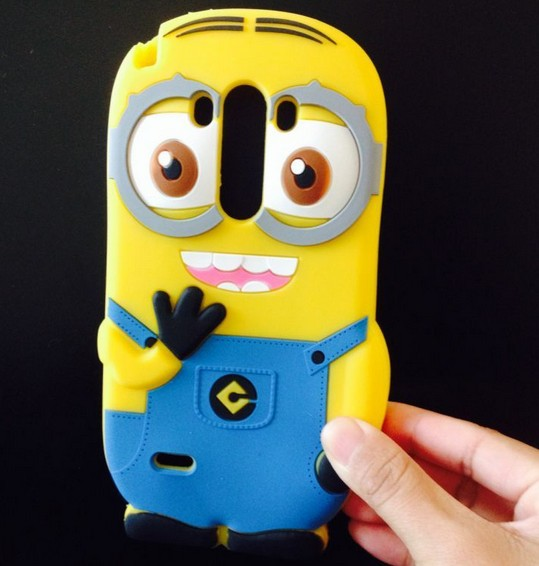 3D Phone Case Silicone Soft Shell Small Yellow People Case Cover Cute Minions Despicable Me case for LG G3 D855(China (Mainland))