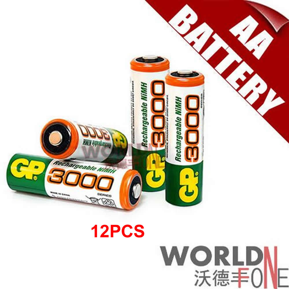 GP 3000mAh AA Battery 1.2V Ni-MH Rechargeable Battery for Toy /LED Flashlight 12pcs/lot(China (Mainland))