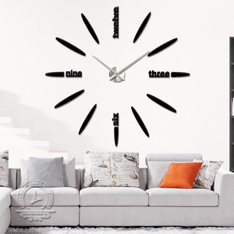 fashion modern design Acrylic big mirror wall clock home decor 3d large diy living room - DIY Home Decorations-Factory store