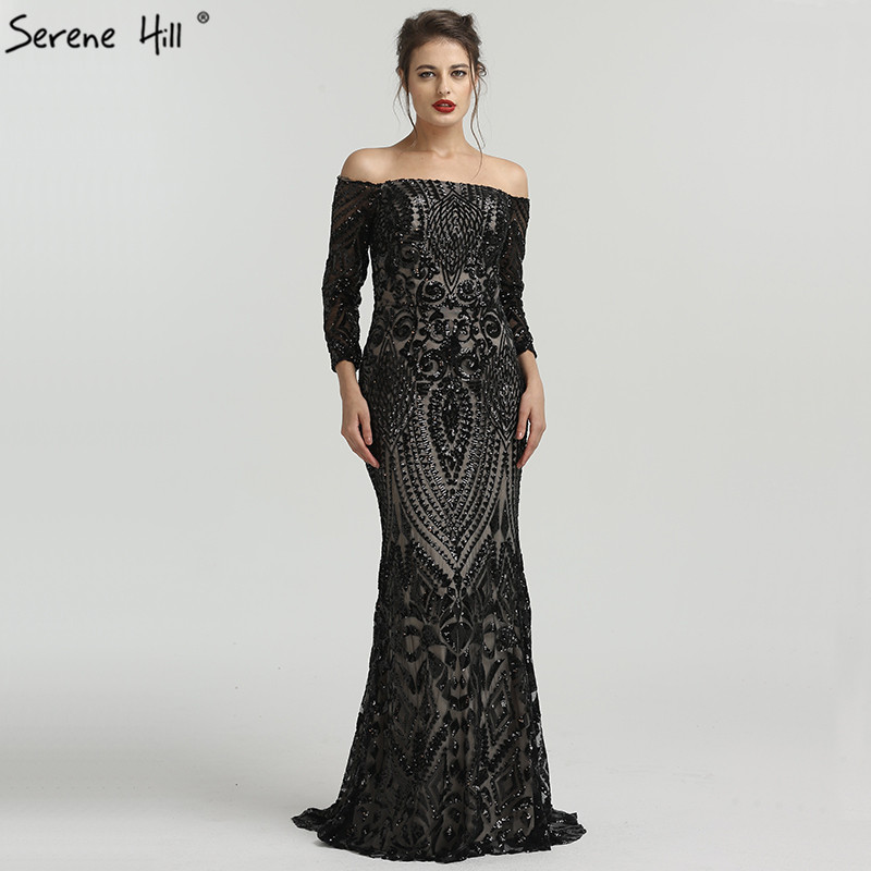 Black Long Sleeve Off Shoulder Sequined Evening Gowns Fashion ...