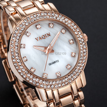 Brand Quartz watches women fashion dress watch stainless steel around rhinestone dial lady bracelet wristwatches 2 color choose