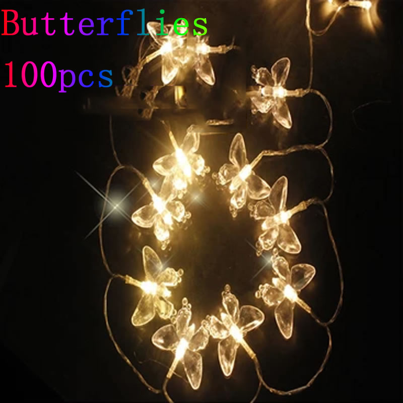Butterfly Party String Lights : 10m 100 LED Butterfly Light String Christmas Lights Wedding/Party Decoration Light Fairy Lamp ...