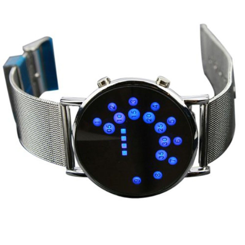 2015 New Trend Men's Wrist Watch LED Round Mirror Blue Circles Stainless Steel Digital Watch Special Designed Gift Limited(China (Mainland))