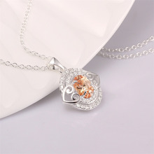 New Women Lady Ellipse Zircon Crystal Heart Pendant Rhinestone Necklace Jewelry(China (Mainland))