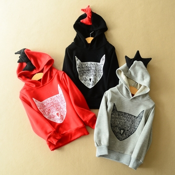 2016 New Boys Girls Hoodies Kids Long Sleeve Sport Hoodies Novelty Unisex Fox Cool Hoodies KT093B