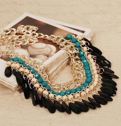 Bohemia Jewelry Necklace 2015 New Fashion Rhinestone Chain Collar Gold Necklace Pendant Tassel Statement Necklace Women