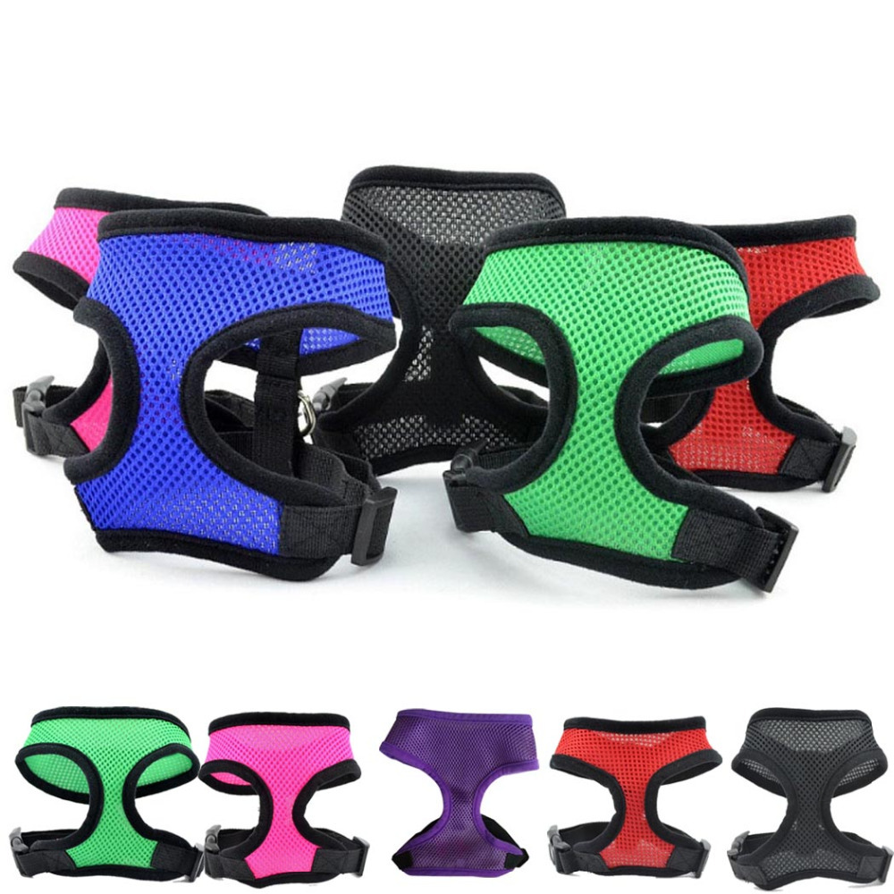 10 Colors Fashion Nylon Mesh dog Harness Strap Pets Products Dog Collar Charm Led Collars Dog Rope For Small Medium-sized Puppy(China (Mainland))