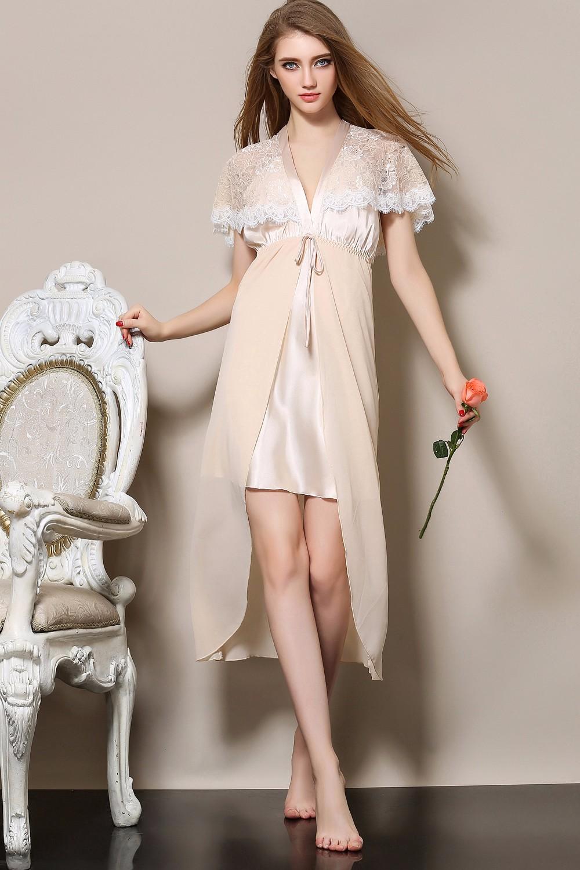 Ladies Sexy Sleepwear Silk Long Nightgown Lace Nightdress