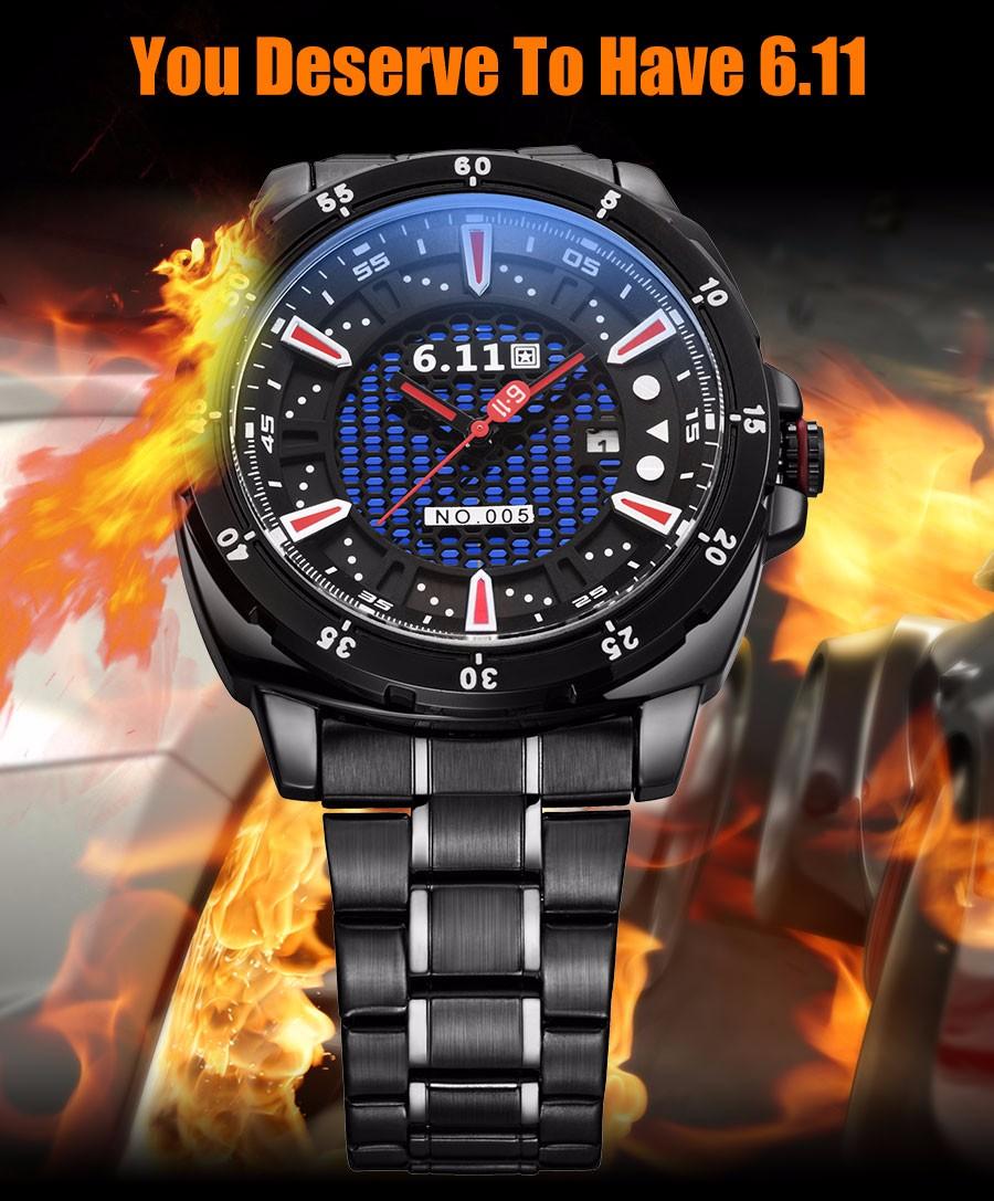 6.11 мужская мода спорт кварцевые часы случайные бренд скелет на солнечных батареях часы стальной ленты 30 М Водонепроницаемый relogio masculino