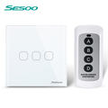SESOO Crystal Glass Panel Touch Switch Wireless Remote Control Switch EU Standard Light Switch Wall Light