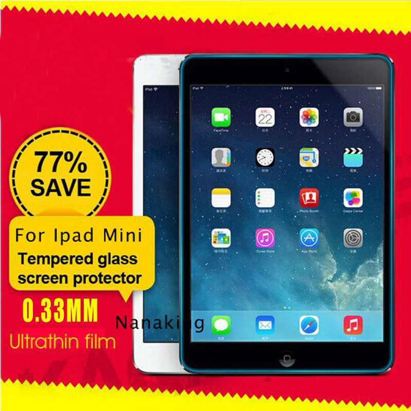 Real Quality Anti Shatter Clear Toughened Screen Protector for Ipad mini 1 2 Glass Protective Film with Retail Package(China (Mainland))