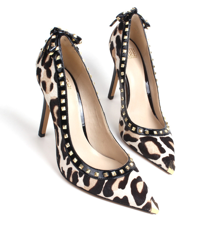 U.S. Horse hair rivets pointed high heels, leopard print sexy thin heel shoes for women, bowtie design women heels free shipping(China (Mainland))