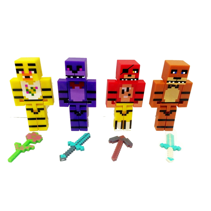 4PCS/lot Minecraft Five Night At Freddy Toy Kids Baby Cartoon Animals Action Figure 7CM 2.8inch Christmas Birthday Gift Toy