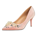 Elegant Ladies Shoes High Heels Shallow Mouth Pumps Pointed Toe Pearl Crystal Platform Shoes W01025 1