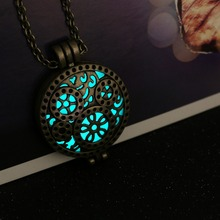 Glowing Steampunk Necklace Magical Fire Fairy Glow In The Dark Necklace Aqua Large Locket 2015 Brand