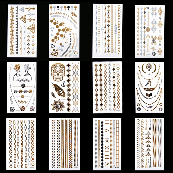Temporary tattoo fake gold silver jewerly flash tattoo sexy products fit women dress unique style different 12 designs to choose(China (Mainland))