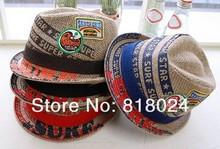 Baby Straw Fedora Hat Children Summer Sunhat Kids Jazz Cap Boys Girls Straw Cowboy Hat Fedoras Dicers(China (Mainland))