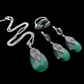 HENSEN Natural Stone Jewellery Vintage Silver Plated Green Opal Jewelry Set Women Fashion Water Drop Shape