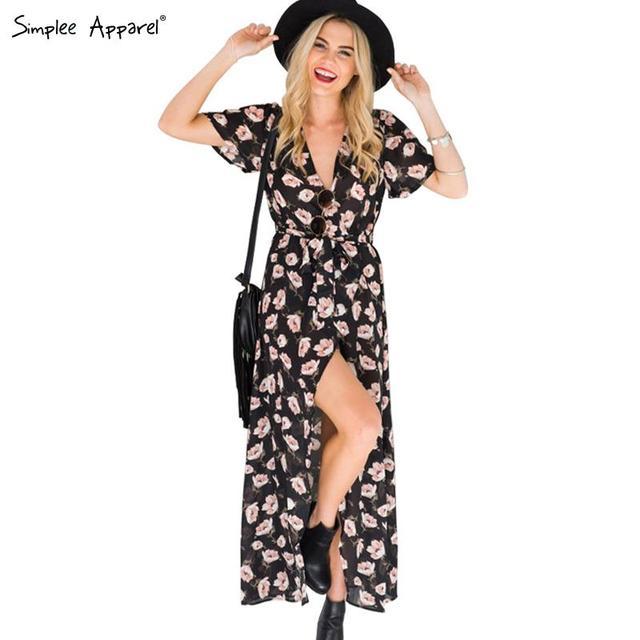 Simplee одежды 2016 Новый стиль летнее платье женщин boho старинные цветочный принт длинное платье девушка вечер ну вечеринку сексуальная макси vestidos