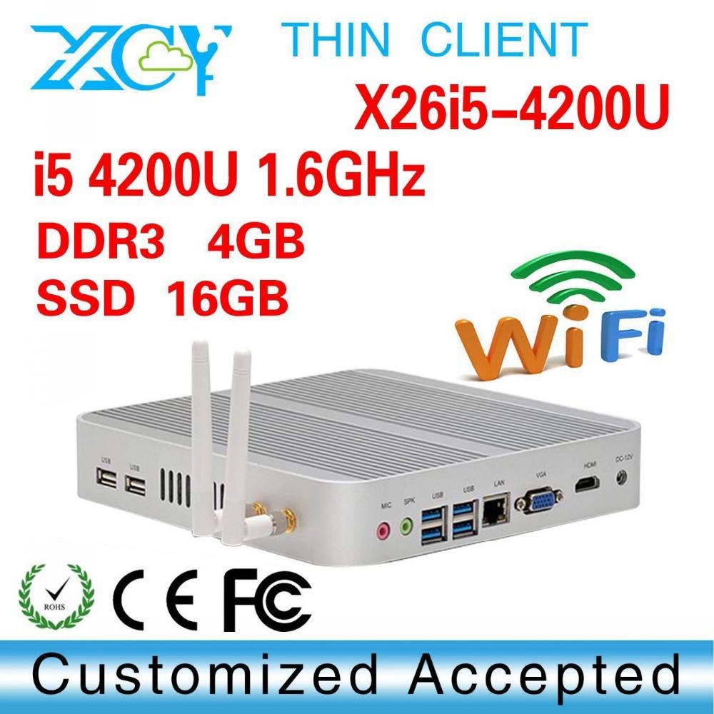i5 4200U 4gb ram 16gb ssd Fan Industrial Mini PC thin client Mini computer can run Linux/Ubuntu/window 7(China (Mainland))