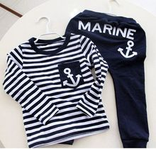 Hot Sale New 2015 Spring Kids Clothes, Navy Long Sleeve Pullover Striped Sports Suit, Casual Boys Clothing Set(China (Mainland))