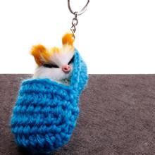 Moda Artesanal tecido fofo chaveiro gato menina tecido de lã chinelos de coelho artificial cabelo pompom fofo bonito do anel chave da corrente chave(China)