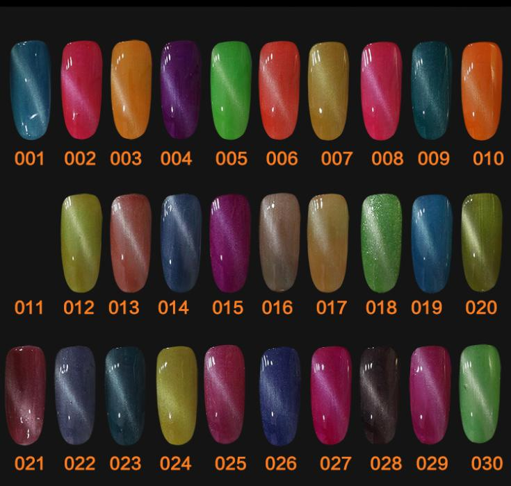New 1pcs Magnetic Cat Eye UV Nail Gel Polish with 1 Free Magnet Stick 60 Colors Optional 10ml Nail Gel Lacquer(China (Mainland))
