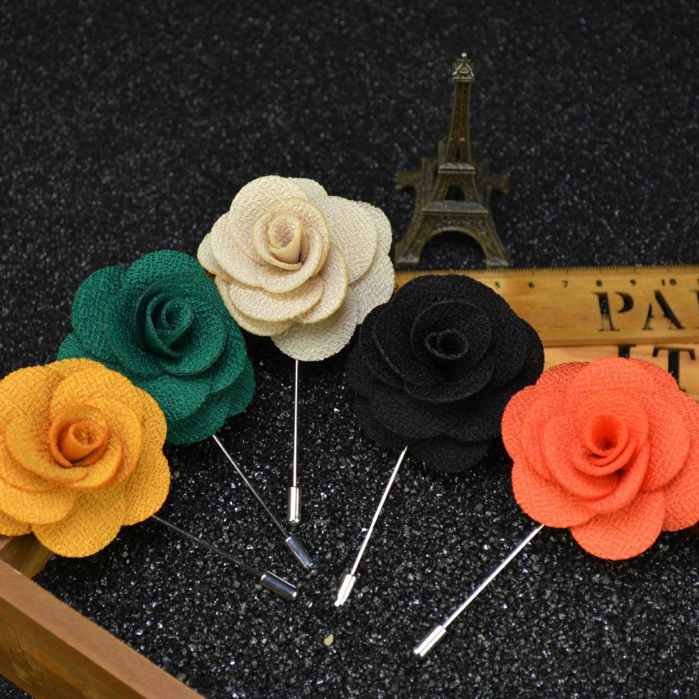 16 Colors Men's Lapel Pins Brooches For Wedding Suits Fabric Flower Handmade Boutonniere Accessories Uxedo Corsage Brooch Pins(China (Mainland))