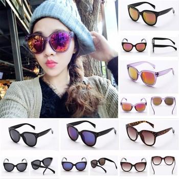 Женские мужчин уф 400 заклепки солнцезащитные очки пластиковая рамка круглый оттенки негабаритных очки бесплатная доставка