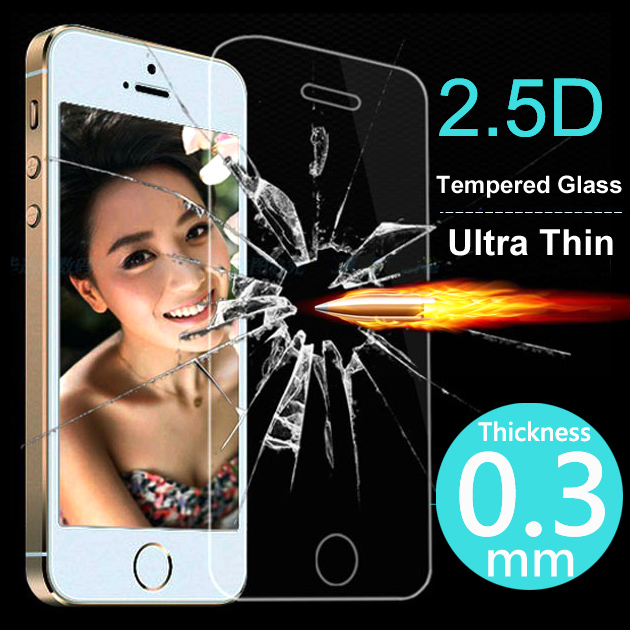 Top Quality 0.3mm 2.5D Ultrathin Premium Tempered Glass Screen Protector For iphone 5 5s 5c Protective Film Case For iPhone 5 5s(China (Mainland))