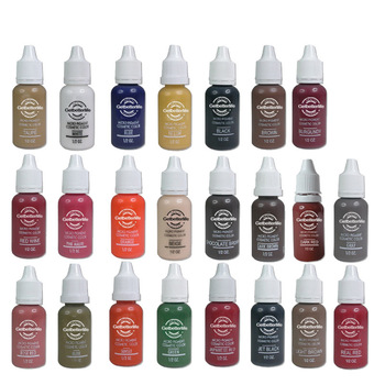 EMS Free shipping 6 colorful permanent Makeup tattoo ink pigment 15ml for eyebrow make up starter tattoo kit sets for beginners