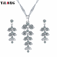 2016 Hot Selling YIWU China Accessories Charming Silver Plated Rhinestone Necklaces\Pendant Earrings Fashion Jewelry Sets(China (Mainland))