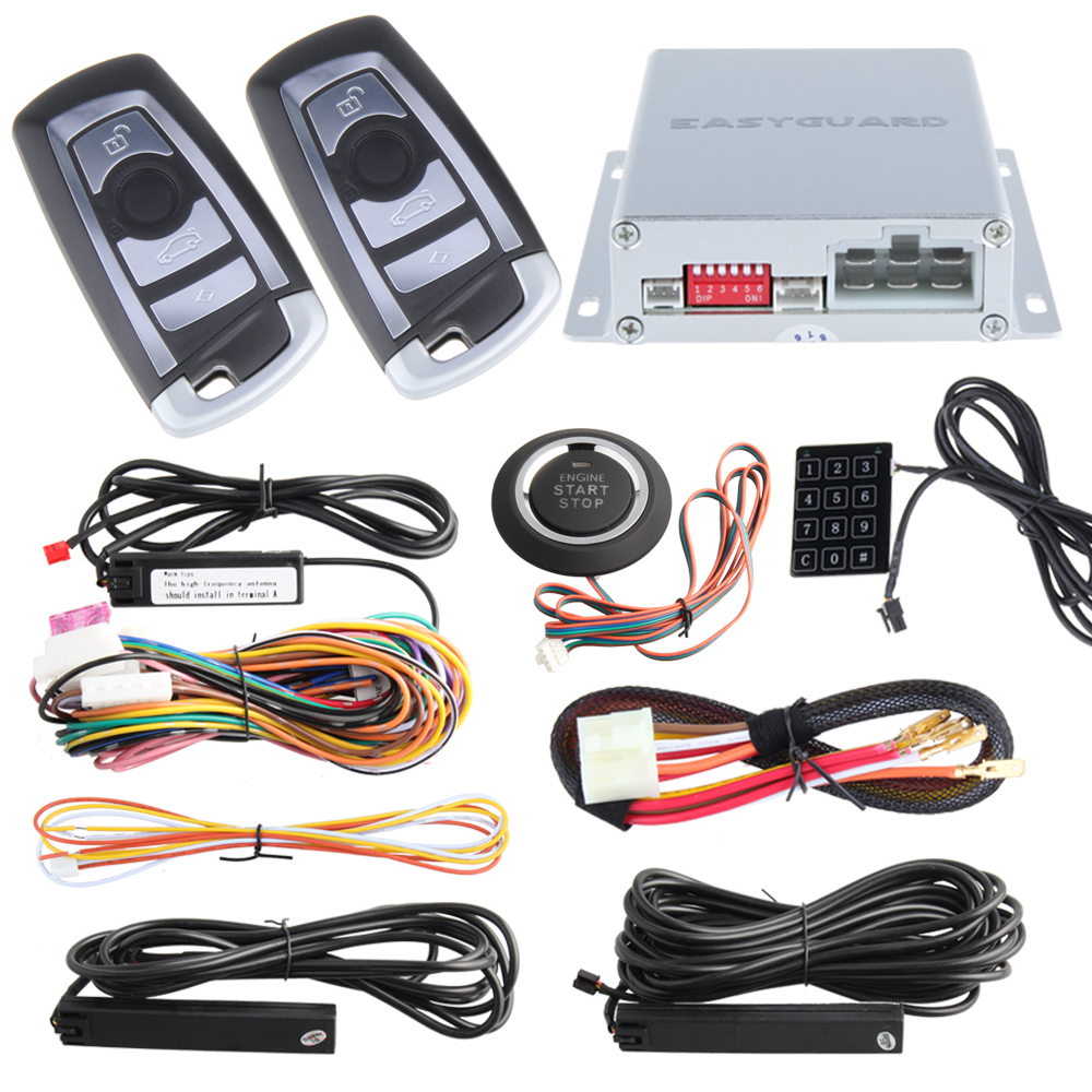 PKE car alarm system kit with remote auto engine start/ stop, passive keyless entry, Touch password entry and code learning(China (Mainland))