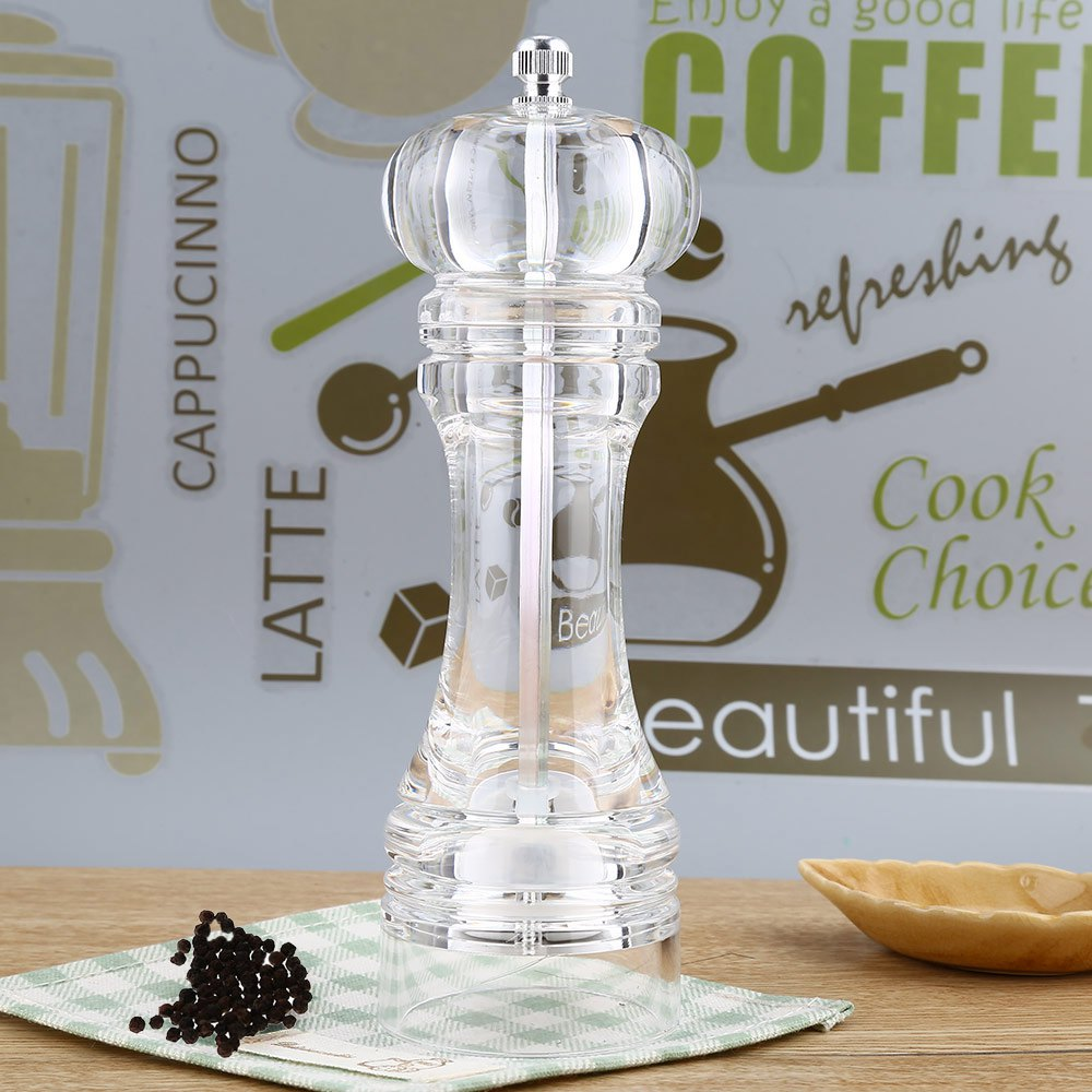 Acrylic Transparent Manual Pepper Grinder Salt Spices Mill Ceramic Classic Design Shaker Kitchen Accessories Grinding Tool(China (Mainland))
