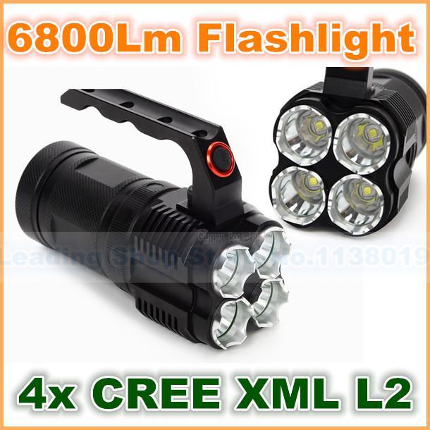 Monster High/Middle/Low Tactical Flashlight LED Flashlight Xenon Flashlight NEW Professional 4x CREE XML 6800Lm L2 LED Flash(China (Mainland))