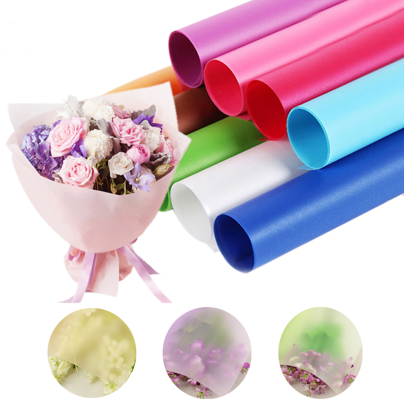 Free Shipping 10 sheets/lot flower dress gift wrapping clear cellophane transparent water proof fog flower wrapping paper(China (Mainland))