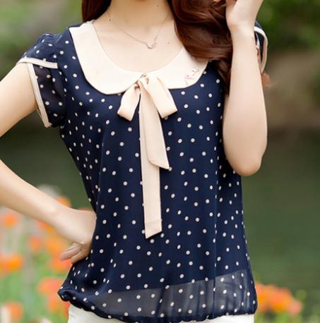 Vestidos novo 2015 mulheres Chiffon blusas blusa arco de moda de manga curta blusa solta plus size vestido ocasional(China (Mainland))