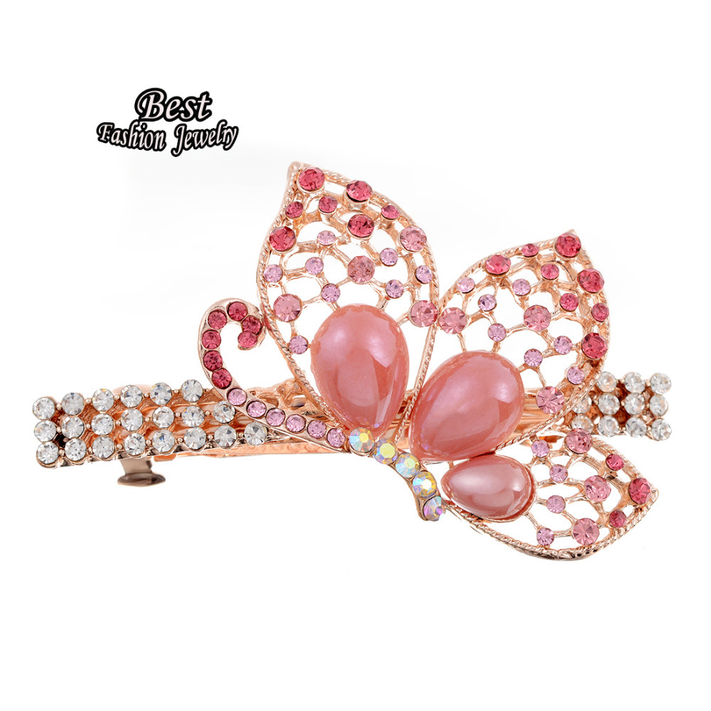 Lovely Pink Butterful Decoration Female Hair Accessory Lady's Charming Banquet Hair Maker Beautiful Clip(China (Mainland))