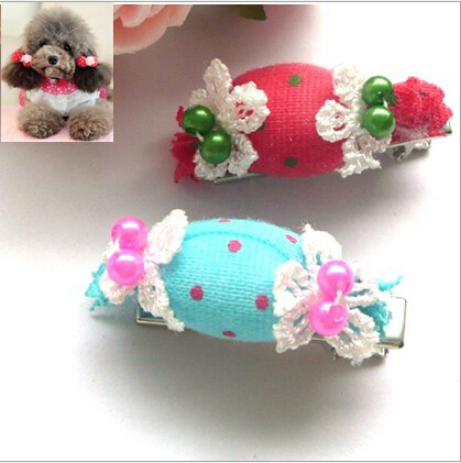 5 pcs Wholesale Candy Pet Cat Dog Hair Clip Popular Dog Grooming Bows Ties Products For Animals Suppliers Accesorios Para Perros(China (Mainland))