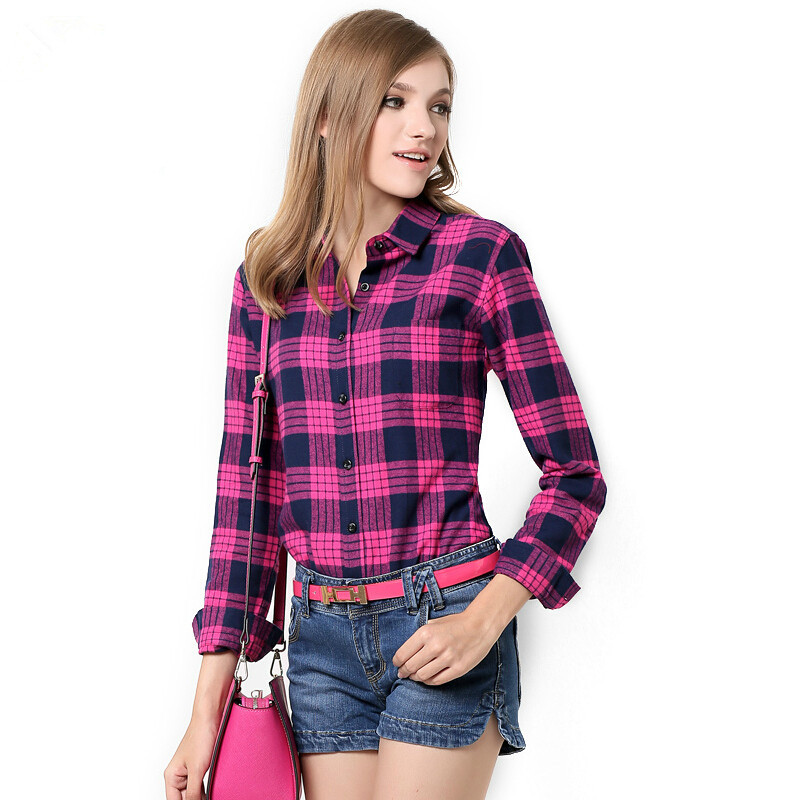 Spring autumn 2014 flannel long sleeve womens red plaid Womens red plaid shirts blouses