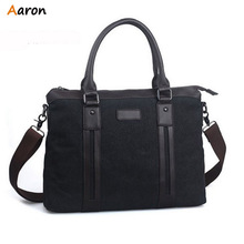 Aaron - Luxury Simple Patchwork Large Canvas Mens Briefcase With Leather Strip Front,Durable Large Men's Canvas Bag Hot Sell(China (Mainland))