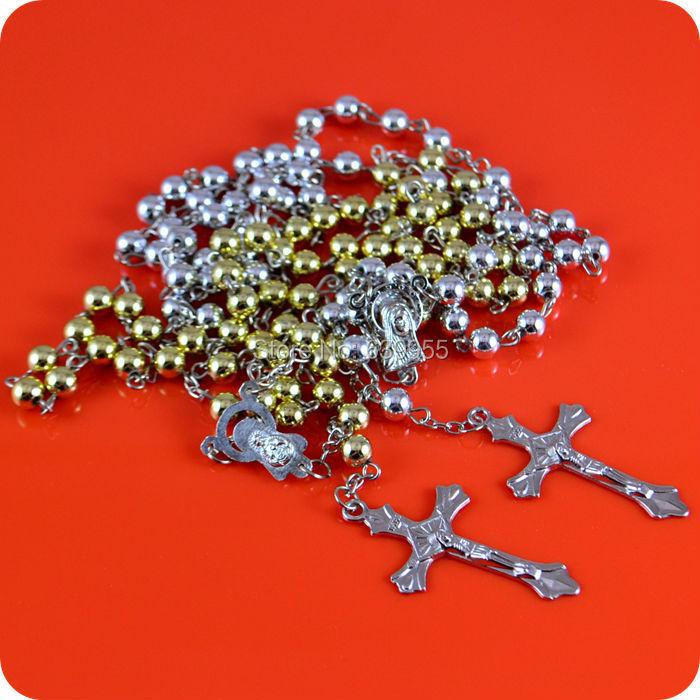 Rosary Beads INRI JESUS Cross Crucifix Pendant Necklace Catholic Fashion Religious jewelry Wholesale