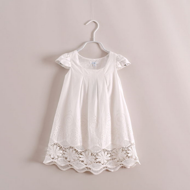 Girl Summer dress 2014 Toddler Kids Embroidery Cotton Casual Dress Baby Fashion Famous Brand Clothes HOT Selling 3-8 Years Old(China (Mainland))