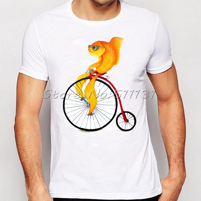 Penny Farthing Art Design Cute Fish Infant Printed T-Shirt Funny Personalized TShirt Summer Men Novelty Tee Tops Camisetas Homme(China (Mainland))