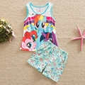 summer clothes 2016 My litter pony pattern printed cotton short baby suit set clothes for girls