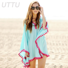 Women Sexy V-neck Chiffon Cover Ups Sky Blue Sunscreen One Piece Beach Dress Pink Lacy Sleeves Swimwear Swisuit Cover Up Newest