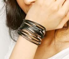 Min order $10, Individual character bracelet multilayer bracelet Leather bracelet bangle cheap popular(China (Mainland))