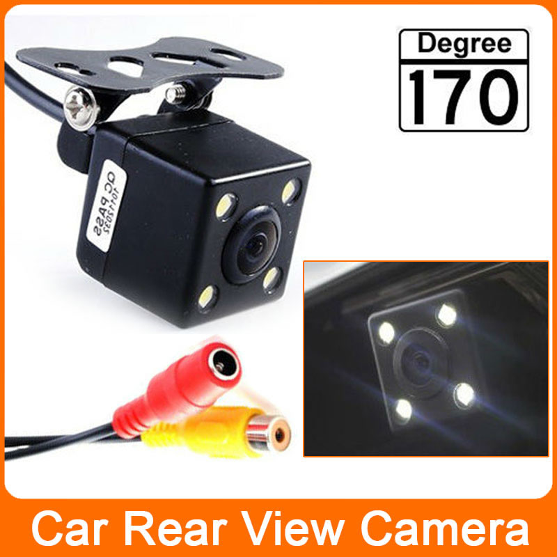 Free Shipping 170 Degree Waterproof 4 LED Night Vision Car CCD Rear View Camera Parking Assistance system For Monitor(China (Mainland))
