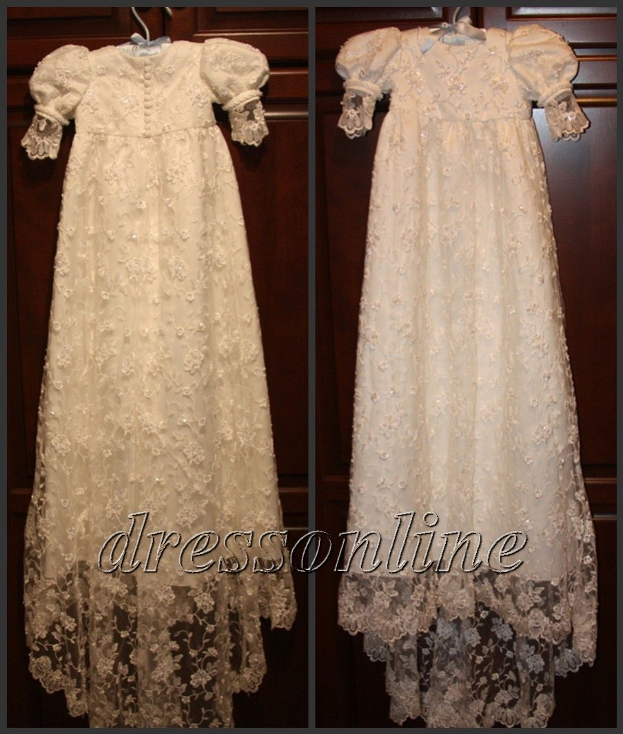 Custom Made White Ivory Lace Baby Dress Christening Baptism Gowns Boys Girls - Online Bridal CO. Ltd. store